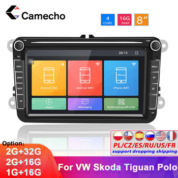 Camecho Andorid 8.1 2 Din Car Auto Audio GPS WiFi DVD Car Radio Multimedia MP5 Player for Volkswagen Seat/Skoda/Passat/Golf/Polo image