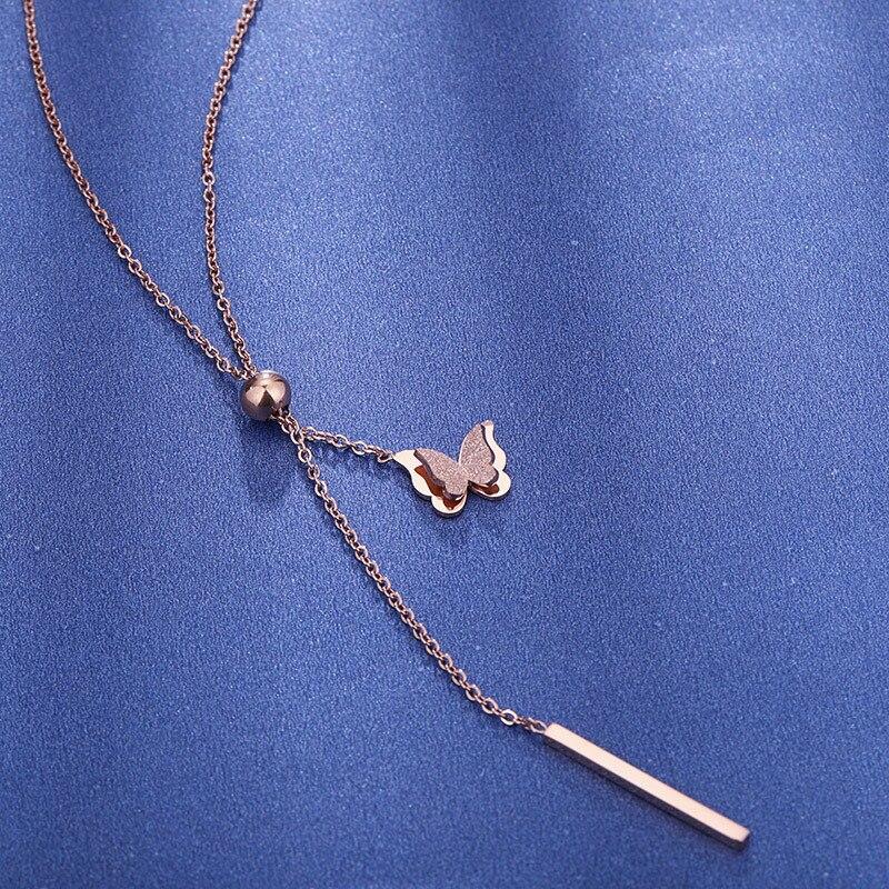 Women Titanium Steel Butterfly Tassel Dangle Pendant Necklace Chain Jewelry