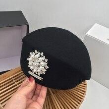Japoński koreański wersja jesienią i zimą nowy czarny wełniany beret czapka malarza perła jasny diament pani stewardesa kapelusz kobieta