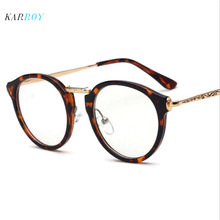 New Fashion Plain Glasses Men Round Myopia Spectacle Frame Women Metal Retro Optical Art