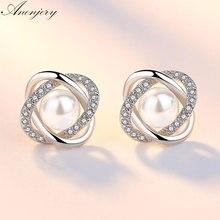 цена на Elegant 925 Sterling Silver Earrings Zircon Pearl Twist Luxury Stud Earrings For Women brincos pendientes