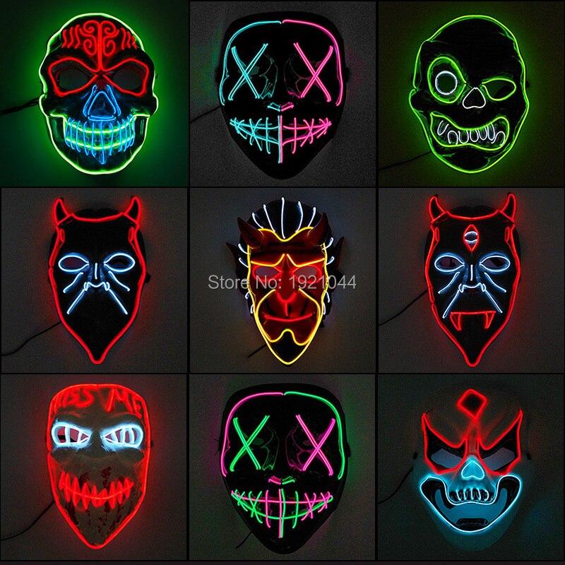 2019 New Designed Fashion Flashing LED Party Mask Halloween  Costume DJ Light Up Decoration
