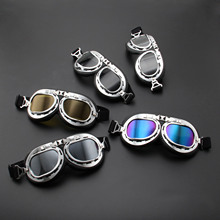 NEW Vintage Motorcycle Glasses Goggles ATV Motocross Anti-UV Skiing Snowboard Sunglasses Goggles Scooter Helmet Glasses Off-Road motorcycle atv riding scooter driving flying protective frame clear lens portable vintage helmet goggles glasses for 2009 buell xb12r