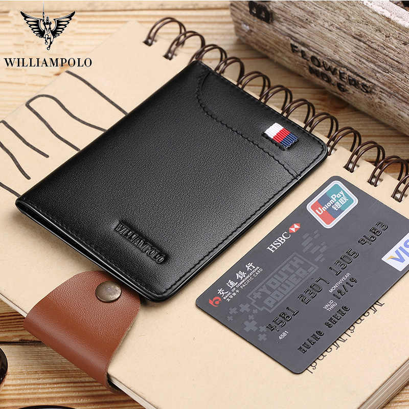 WILLIAMPOLO Mens Wallet Slim Business Card Credit Card Card Holder Purse Real Cowhide Men Fashion Casual Mini Card Bag Bifolds