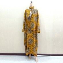 Dashikiage Gold ผ้าฝ้ายพิมพ์ดอกไม้แอฟริกัน Dashiki Dresses สำหรับผู้หญิง Plus ขนาด Mama ชุด 168 ซม.* 119 ซม.ผ้าพันคอ