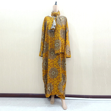 Dashikiage Gold Pure Cotton Floral Print African Dashiki Dresses For Women Plus Size Mama Dress With 168cm*119cm Scarf