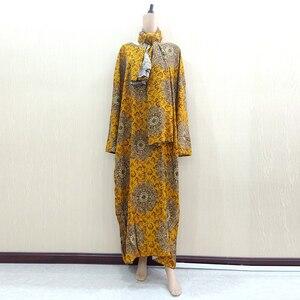 Image 1 - Dashikiage Vàng Nguyên Chất Cotton In Hoa Châu Phi Dashiki Váy Đầm Cho Nữ Cỡ Mama Đầm 168 Cm * 119cm Khăn