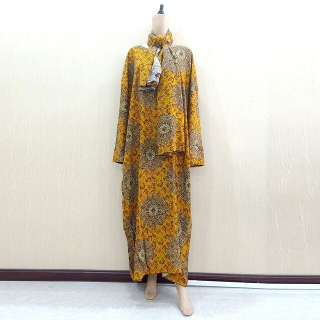 Dashikiage Vàng Nguyên Chất Cotton In Hoa Châu Phi Dashiki Váy Đầm Cho Nữ Cỡ Mama Đầm 168 Cm * 119cm Khăn