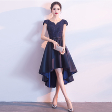 Cocktail-Dresses Tea-Length Navy-Blue Elegant Satin Short V-Neck A-Line Dark