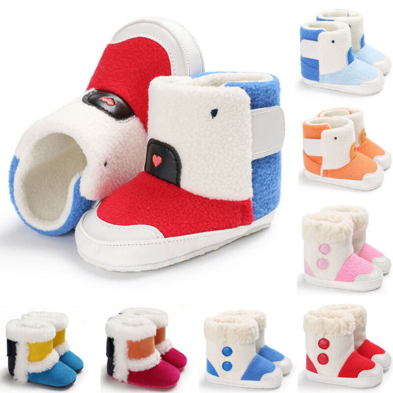 Newborn Baby Winter Boots Warm Boy Girl Shoes Toddler Soft Fleece Sole Shoes Non-Slip Splicing Color 0-18M