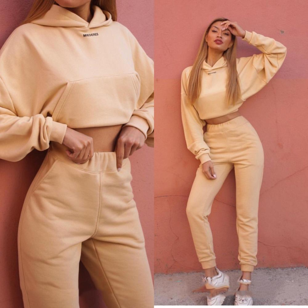 Autumn Women Tracksuit Long Sleeve Thicken Hooded Sweatshirts 2 Piece Set  Set Sweater Suit