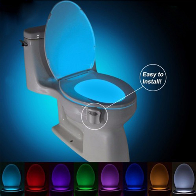 8 /16Colors Waterproof Backlight For Toilet Bowl LED Luminaria Lamp Smart PIR Motion Sensor Toilet Seat Night Light