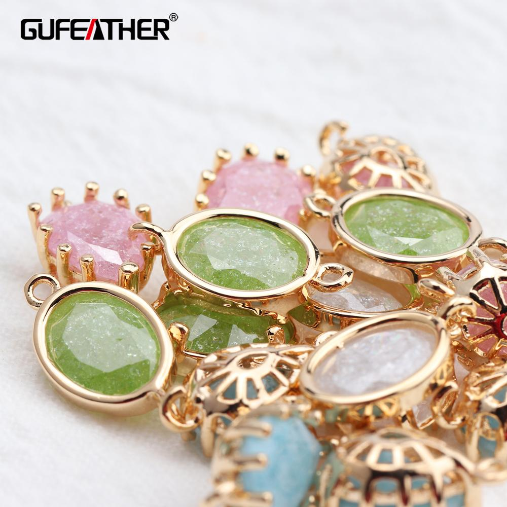 GUFEATHER M620,jewelry Accessories,18k Gold Plated,hand Made,diy Zircon Pendant,jump Ring,diy Earring,jewelry Making,10pcs/lot