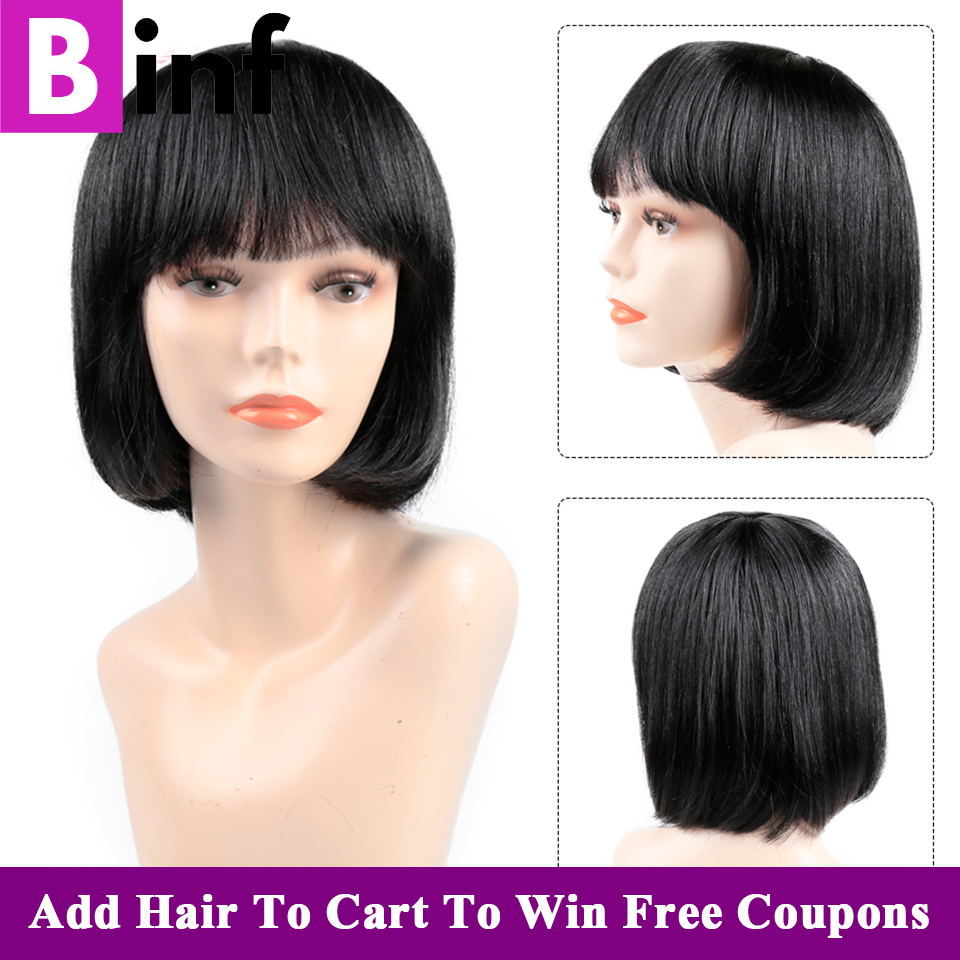 Human Hair Wigs Bob Wig Short Human Hair Wigs With Bangs For Black Women 2020 Fashion Natural Black Straight Remy Bangs Wig