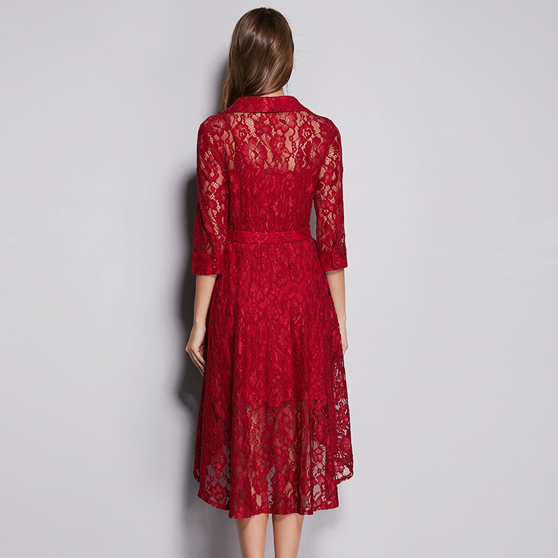 Vestido elegante de encaje de Primavera Verano 2019 talla grande cuello en V Alto y Bajo diseño asimétrico elegante vestido de encaje de mujer con faja cinturón - 5