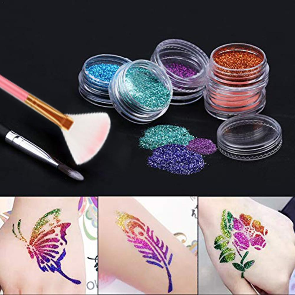 BinHin 30 Color 128 Flash Template Set Diamond Flash Glitter Powder Temporary Tattoo Set Children Face Body Art Painting Set Tool