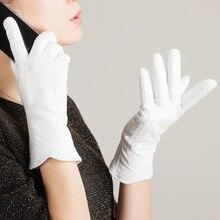 النساء قفازات جلدية جلد طبيعي الحرارية الكشمير Linning شتاء دافئ دسم الأبيض القيادة قفازات قفازات سيدة الطرف