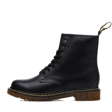 8-Hole Flats-Boots Winter Shoes Genuine-Leather Women High-Top Classic Ankle Dr Round-Toe