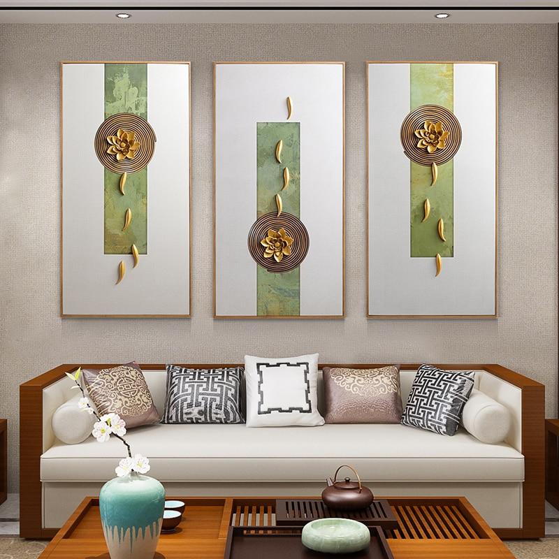 Украшение для гостиной, Настенная картина, тройная офисная живопись, новый китайский ресторан, крыльцо, рельефная живопись - 2
