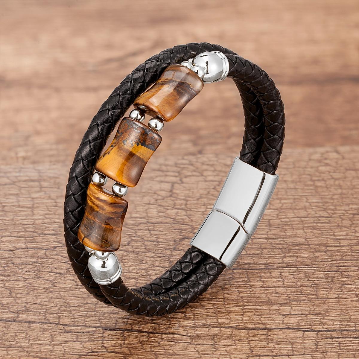 Tiger eye and leather bracelet
