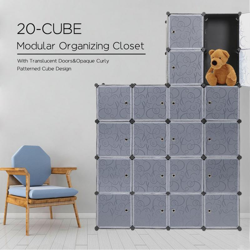 Modern Shoes And Clothes Cabinets Plastic Flexible Storage Cube Box Dust-proof Folding Wardrobes Furniture Shoes Rack Shelf HWC