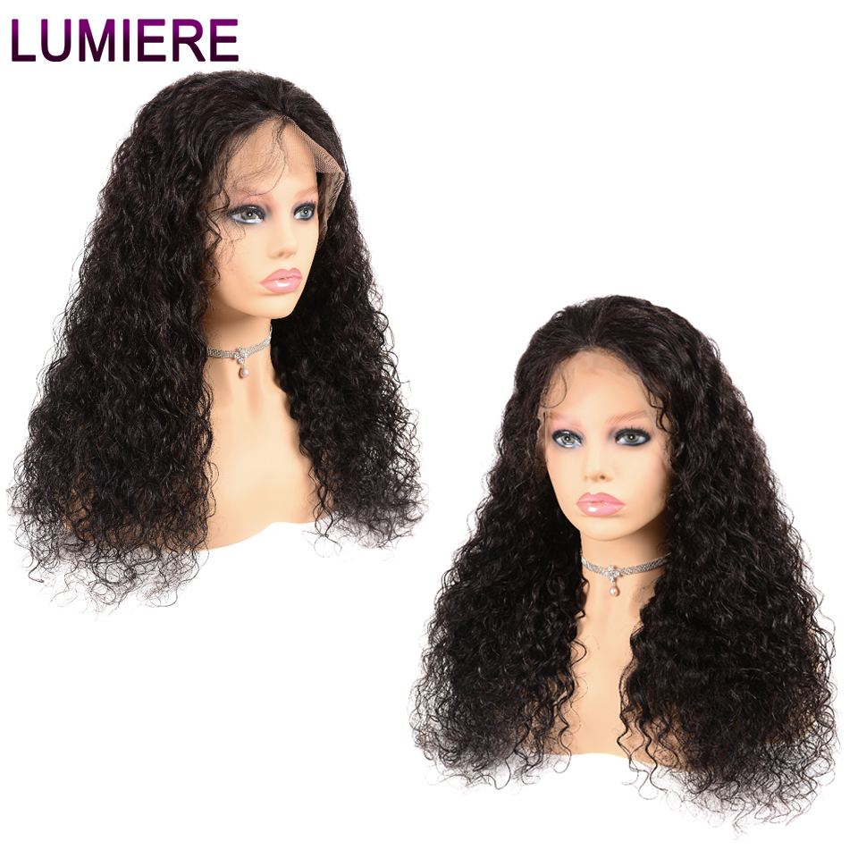 Lumiere Hair 13x4 Lace Front Human Hair Wigs Indian Water Wave Lace Wig For Women Remy Hair Natural Black 150% Density Free Part