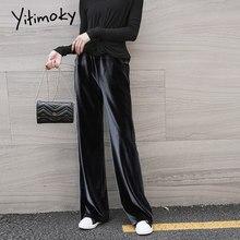 Yitimoky – pantalon en velours pour femme, jambes larges, taille haute, poches solides, nouvelle collection automne hiver