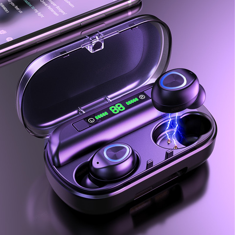 TWS Bluetooth Earphone With Microphone LED Display Wireless Bluetooth Headphones Earphones Waterproof Noise Cancelling Headsets Pakistan