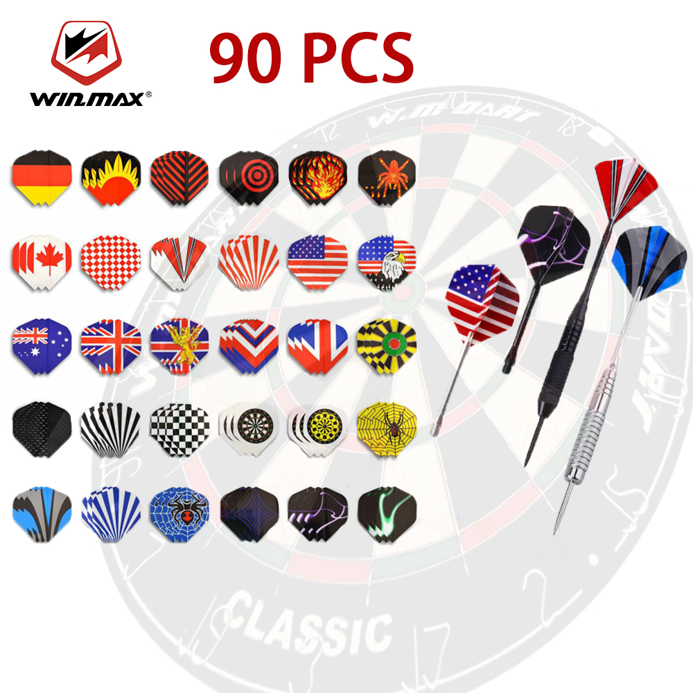 WINMAX 90Pcs Professional Darts Flights Standard Durable Replacement Feather Tail Wing Steel Soft Leaves Accessories Harrows Toy