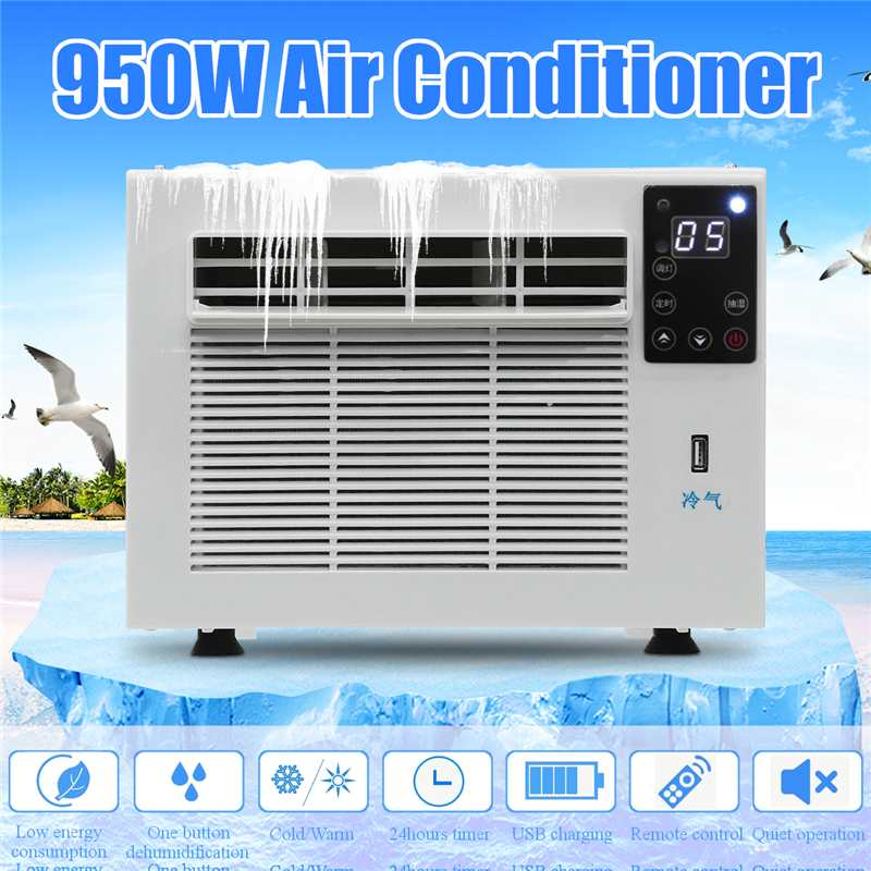 New 950W Portable Air Conditioner 24-hour Timer 110V/AC 2 Gear Lighting LED Control Panel With Remote Control Cold/Heat Dual Use