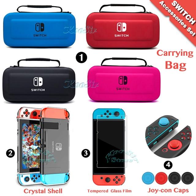 Accessoires de commutateur nintention étui de transport Film de protection décran étui rigide pour PC casquettes de pouce sac à main Nintendoswitch pour Nintendo Switch