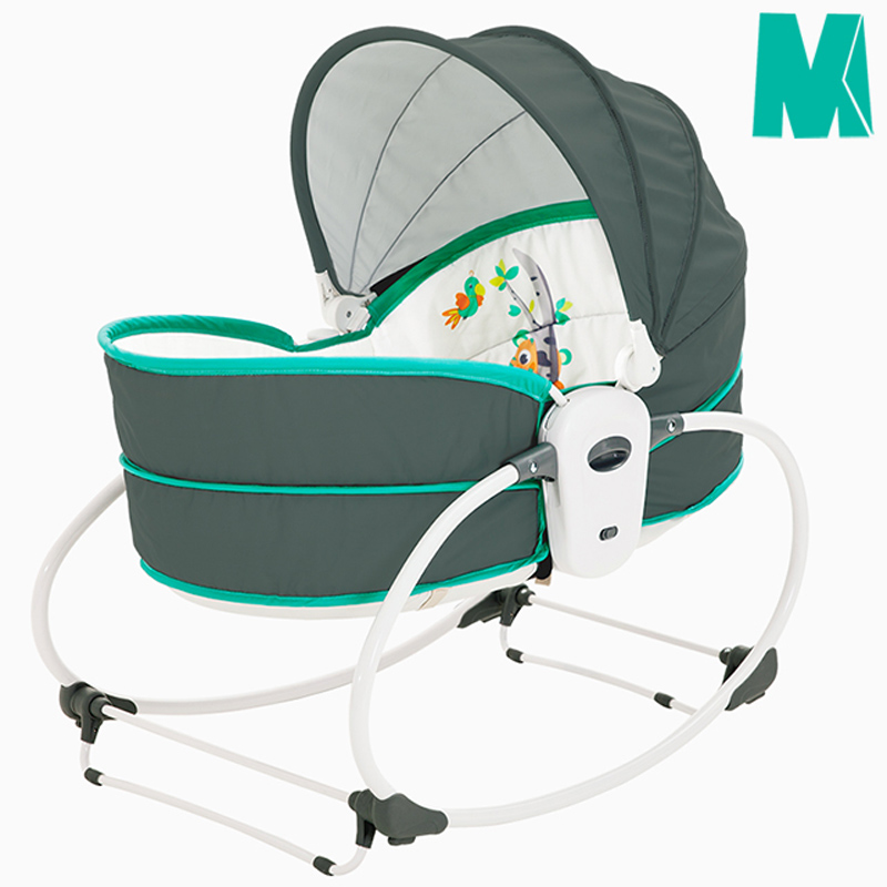 Portable Baby Rocking Bassinet, 5 in 1 Gliding Swing Cradle With Music & Toys, Multi-Functional Infant Crib Travel Chair