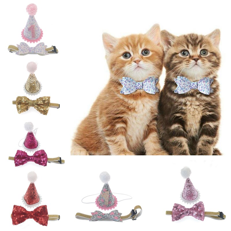 Pet Cat Dog Accessories Bow Tie For Dogs`Birthday Christmas Hat Headwear Decor Products 005