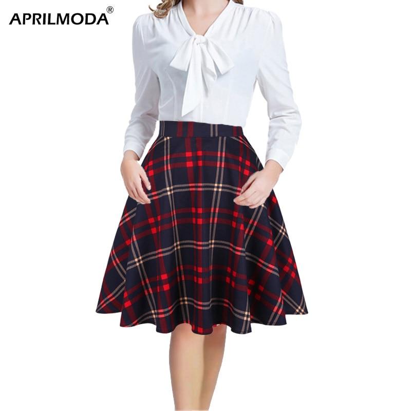 Checkered Cotton Womens Midi Skirts High Waist Pin Up Hepburn Retro Vintage Swing Skirts 50s 60s Rockabilly Plaid Jurken Skater