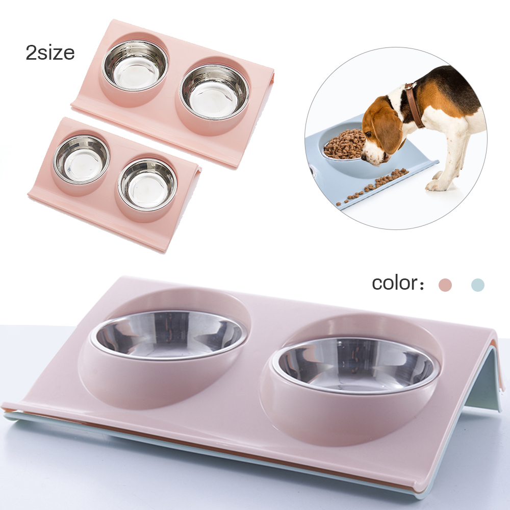 Double Dog Bowl Pet Feeding Station Stainless Steel Water Food Bowls Feeder Solution For Dogs Cats Supplies New Year Christmas
