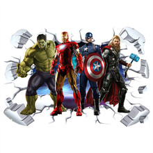 Les Avengers super héros 3d stickers muraux cassés Hulk fer homme affiche murale enfants chambre décoration vinyle anime papier peint 90*60cm