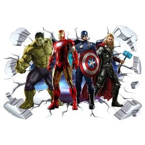 The Avengers super heroes 3d broken wall stickers Hulk Iron Man poster mural kids room decoration vinyl anime wallpaper 90*60cm(China)