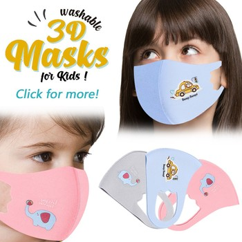 Cute Cartoon Mask Elephant Breathable Washable Reusable Face Cover Mask Dust Pollution Wind Proof Outdoor Sunscreen Mascarar image