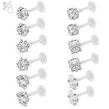 ZS – lot de 10 à 12 anneaux Bioflex transparents en cristal, 16G, Labret, Monroe, boucles d'oreilles, Cartilage, Helix, Tragus, Piercing, bijoux