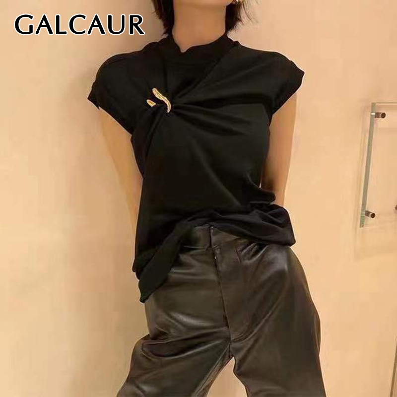 GALCAUR Gold U-shaped Buckle Vests For Women O Neck Sleeveless Asymmetric Ruched Elegant Vest Female Fashion 2020 New Clothes