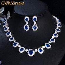 CWWZircons ยี่ห้อ Gorgeous Micro Inlay Full หิน CZ รอบคริสตัลสีน้ำเงินเข้มดอกไม้งานแต่งงานชุดเครื่องประดับสำหรับสตรี T159