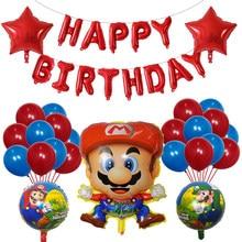 38個スーパーマリオ風船30インチナンバーバルーンは少年少女の誕生日パーティーマリオルイージブラザーズマイラーバルーン装飾子供おもちゃ