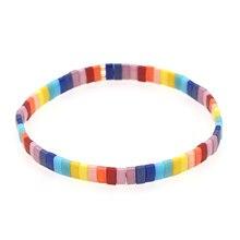 Go2boho miyuki tila contas pulseiras para mulheres boho arco-íris frisado pulseira amigos jóias presente verão praia pulseras jóias