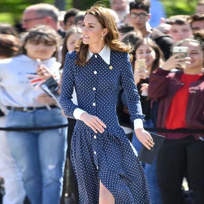 Prinses Kate Middleton Dames Designer Vrouwen Formele Vintage Hoge Kwaliteit Party Revers Single-Breasted Stippen Slinky Midi Jurk