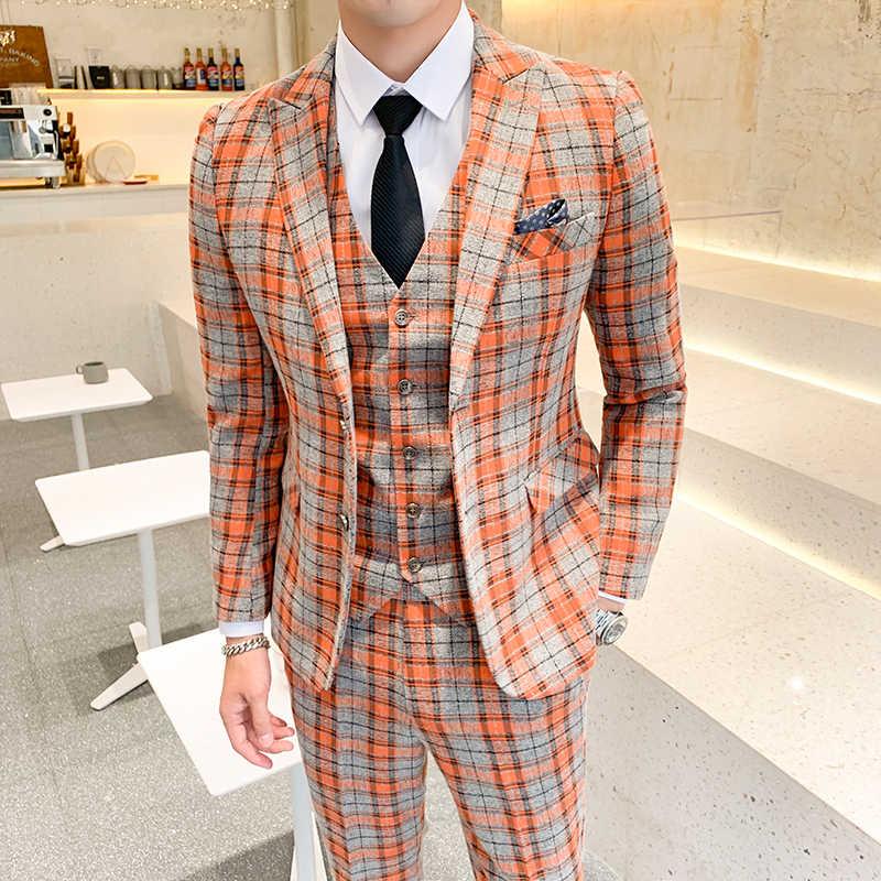 مزدوجة تنفيس ماتشا منقوشة دعوى للرجال 5XL زائد حجم الرجال بدلة الزفاف 2019 عالية الجودة 3 قطعة Terno masculino يتأهل Q335