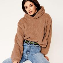 2019 New Minimalist Solid Drop Shoulder Hoodie Sweatshirt Autumn Casual Fashion  Crop Teddy Women Pullovers Sweatshirts animal print drop shoulder sweatshirt