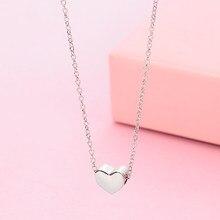 Tridimensional prata cor amor coração colares para mulheres bonito declaração jóias de casamento gargantilha colar pouco presente