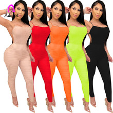 Off Shoulder Ruched Bodycon Rompers Women Jumpsuit Summer Clother One Peice Outf