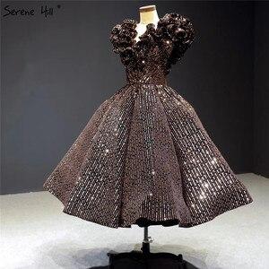 Image 4 - שחור זהב V צוואר יוקרה ערב שמלות 2020 שרוולים נצנצים Sparkle תה אורך פורמליות שמלת Serene היל HA2306