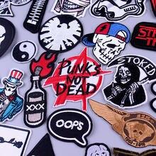 Mektup yama hippi demir on yamalar giysi Punk Rock şerit giysi için işlemeli yamalar Punk kafatası giyim DIY aplike